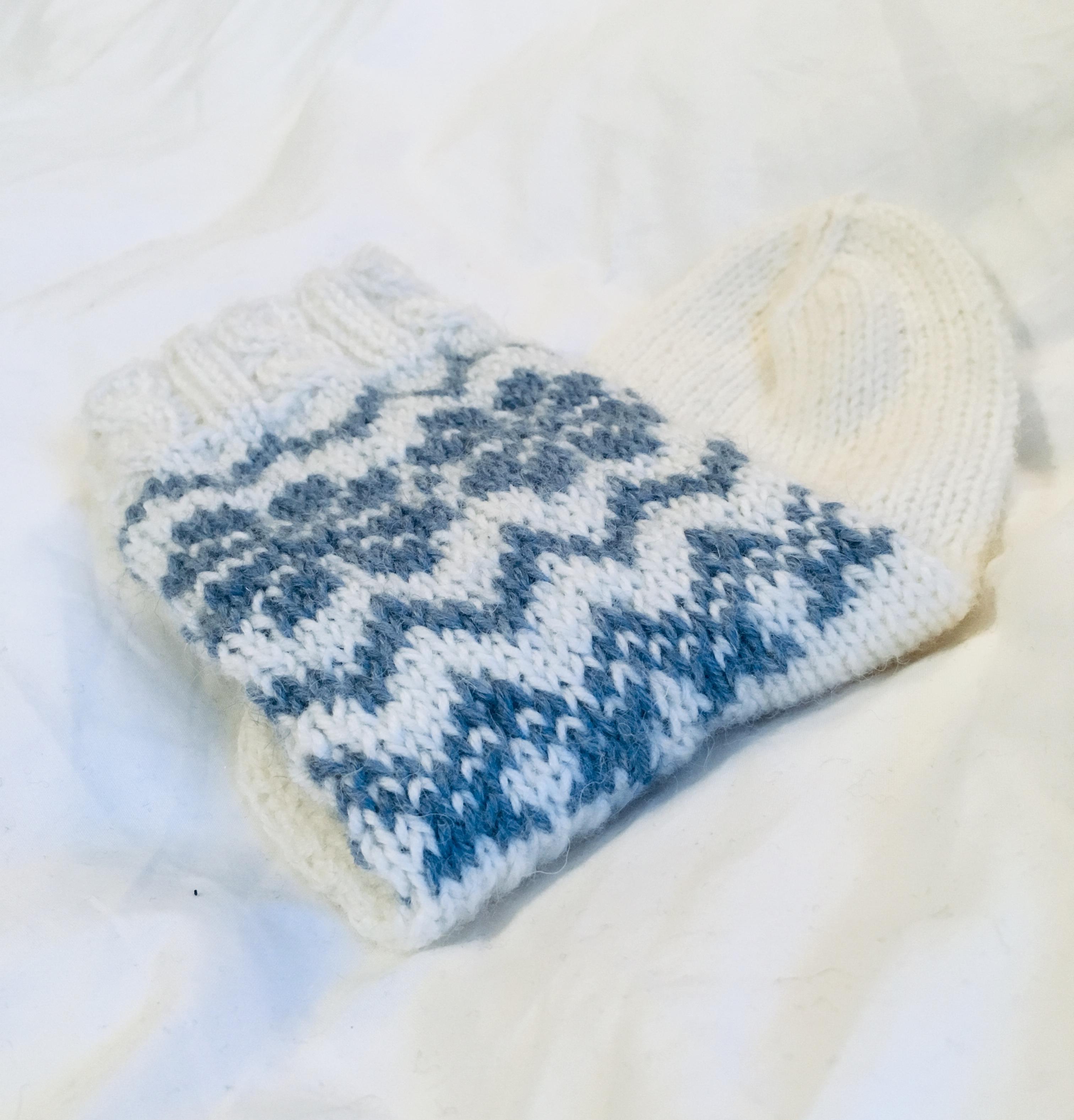 helppo kirjoneulottu talvinen sukka